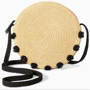 Stella & Dot Tilda Black Pom Crossbody Bag